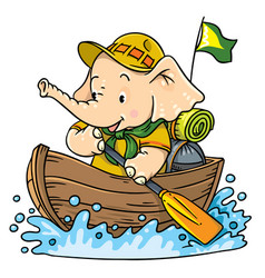 Little baby elephant floating by boat scout vector