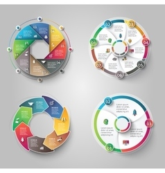Modern circular infographics design set vector