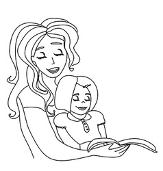 mom reading a book to her kid vector image
