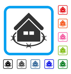 Prison building framed icon vector