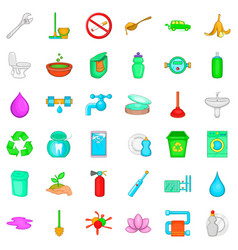 recycle icons set cartoon style vector image vector image