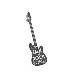 rock guitar emblem with text inside keep calm and vector image
