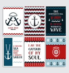 Set of nine vintage marine cards vector image vector image
