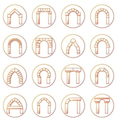 Sketch icons collection of different types arch vector image