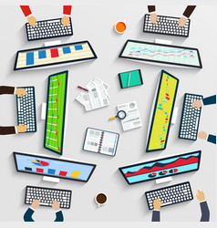 teamwork at table business strategy statistic vector image