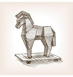 Trojan horse sketch style vector