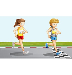 Two lovely girls racing vector image vector image