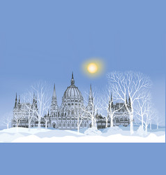 winter holiday snow landscape park palace vector image
