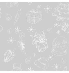 X-mas seamless hand drawn backgrownd gray vector image