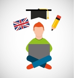 Learn english online icon vector