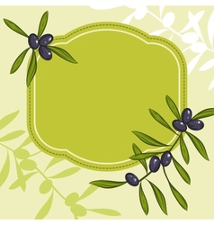Label for product olive oil green olives vector