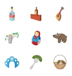 Country russia icons set cartoon style vector