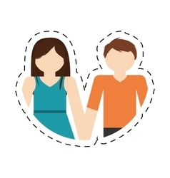 Couple romantic love portrait relation cut line vector