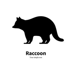 A black raccoon silhouette vector