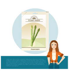 Pack of asparagus seeds icon vector
