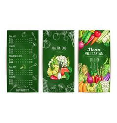 Vegetarian restaurant menu template on chalkboard vector