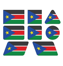 buttons with flag of South Sudan vector image