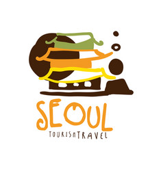 seoul travel logo template hand drawn vector image