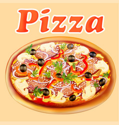 Poster fresh italian pizza with mushrooms and vector