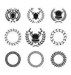 Shields and wreaths labels vector