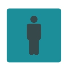 Man flat soft blue colors rounded button vector