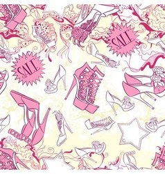 Seamless pattern with shoes and fashion vector