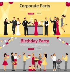 Party flat banners set vector