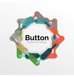 Thin line design geometric button flat vector