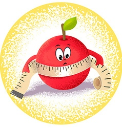 Apple with measuring tape vector