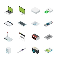 Isometric home and office computer equipment with vector image