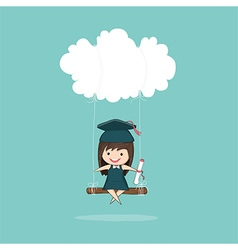 Cartoon girl graduated pupils swinging vector