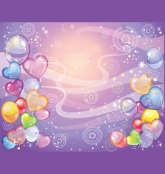 Background with balloons violet vector