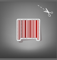 Bar code sign red icon with for applique vector