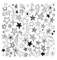 Big set of hand drawn doodle stars black and white vector