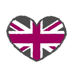 British flag t shirt typography heart vector image