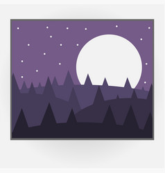 Cartoon style photo frame with night nature vector