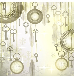 Christmas luxury background with pocket watches vector image vector image