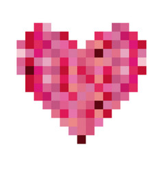 Colorful heart shape pixelated design vector