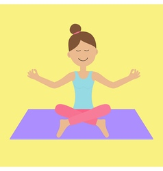 Cute cartoon woman character sitting in lotus pose vector image
