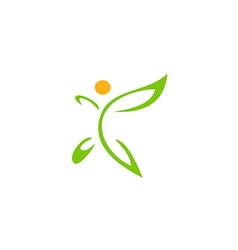 Happy vegetarian abstract leaf logo vector