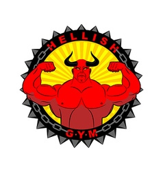 Hellish gym Emblem for the fitness room Logo vector image vector image