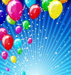 Holiday background with balloons and confetti vector image vector image