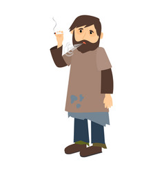 homeless man smokes cigarette vector image