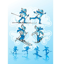 Image of winter sports alpine skiing cross-country vector