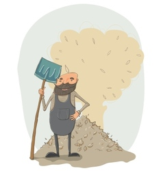 Janitor with a shovel vector image vector image