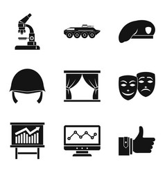 Labor union icons set simple style vector