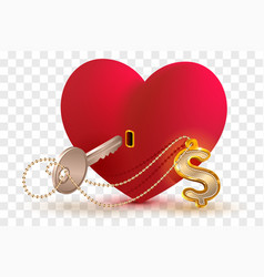 Money dollar is key to heart of your beloved red vector