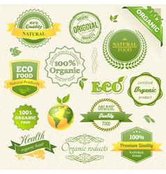 Organic Food Eco Bio Labels and Elements vector image vector image