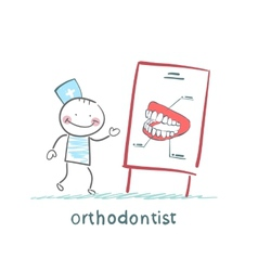 orthodontist tells presentation about teeth vector image