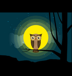 Owl sitting on a tree branch background of the vector